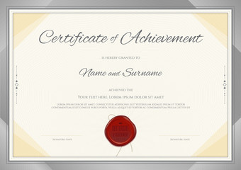 Certificate of Achievement template in modern theme with silver border