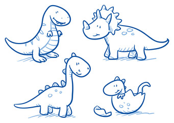 Lamas personalizadas infantiles con tu foto Cute little cartoon dinosaur babies for children, hand drawn vector doodle