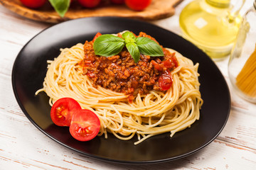 Traditional spaghetti bolognese