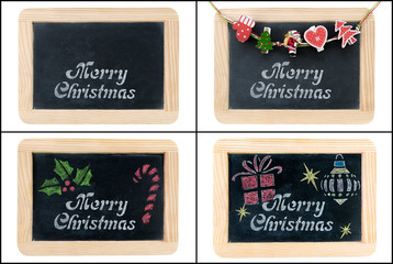 Merry Christmas greeting on chalkboard frames