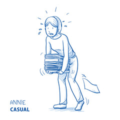 Happy young woman in casual clothes carrying a heavy pile of documents. Hand drawn line art cartoon vector illustration.
