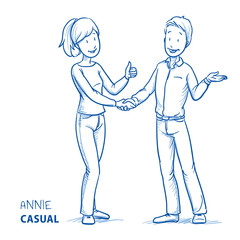 Happy young woman in casual clothes showing thumb up and shaking hands with a young man. Hand drawn line art cartoon vector illustration.