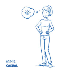 Happy young woman in casual clothes in good mood with sun in a thought bubble. Hand drawn line art cartoon vector illustration.