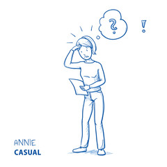 Confused young woman in casual clothes holding a letter or document, looking concerned. Hand drawn line art cartoon vector illustration.