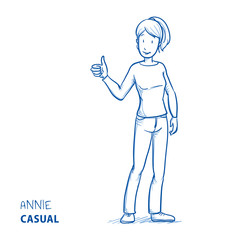 Happy young woman in casual clothes showing thumb up. Hand drawn line art cartoon vector illustration.