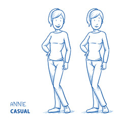 Happy young woman in casual clothes standing. In two emotions happy and worried. Hand drawn line art cartoon vector illustration.