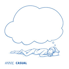 Happy young woman in casual clothes sleeping at ease dreaming, with thought bubble. Hand drawn line art cartoon vector illustration.