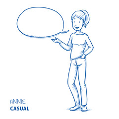 Happy young woman in casual clothes talking and explaining something with speech bubble. Hand drawn line art cartoon vector illustration.