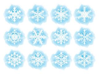 Set of flat snowflake icons. Vector illustration