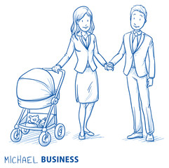 Happy young couple family in business clothes with baby in a stroller. Hand drawn line art cartoon vector illustration.