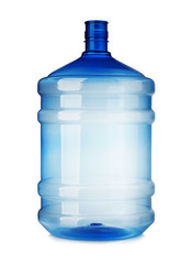 Big plastic bottle close-up isolated on a white background.