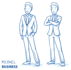 Young man in business suit standing in two emotions, happy and angry. Hand drawn line art cartoon vector illustration.