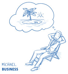 Happy young man in business suit relaxing in a deck chair dreaming of summer holiday with thought bubble. Hand drawn line art cartoon vector illustration.