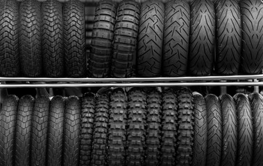 Motorcycle tires on rack store