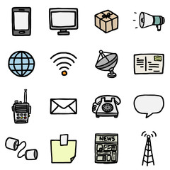 communication objects or icons set/ cartoon vector and illustration, hand drawn style, black and white, isolated on white background.