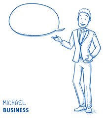 Happy young man in business suit talking and explaining something with speech bubble. Hand drawn line art cartoon vector illustration.