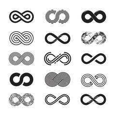 Infinity symbol, vector set. Isolated on white background. EPS 10