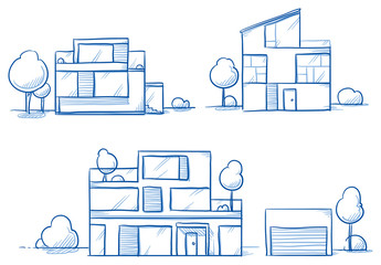 Set of different modern noble designer houses, detached, single family houses with gardens and garage. Hand drawn cartoon vector illustration.