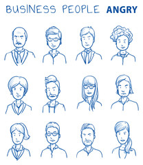 Collection of angry business people. Set of various dissatisfied, enraged men and women in business clothes, mixed age expressing negative emotions. Hand drawn line art cartoon vector illustration.