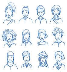 People collection women. Set of various happy women in business and casual clothes, mixed age expressing positive emotions. Hand drawn line art cartoon vector illustration.