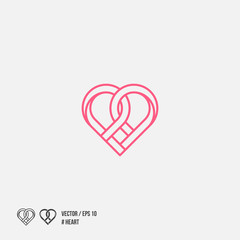 Heart icon, line design. Vector illustration isolated on white background.
