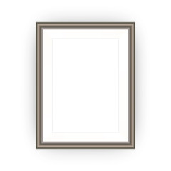 Brown picture frame with blank space, A4 or A3 format, isolated on white. Vector illustration EPS 10