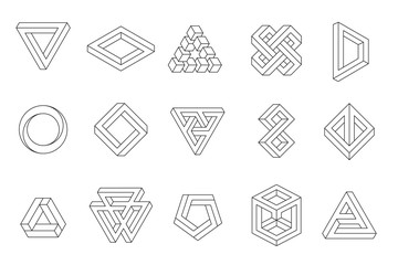 Set of impossible shapes. Web design elements. Line design, un-expanded strokes. Vector illustration EPS 10