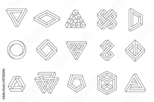 set of impossible shapes web design elements line design un