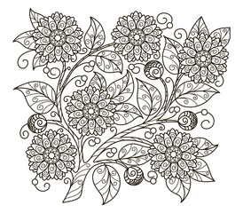 vector, outline, illustration, black and white illustration, abstraction, blooming branch, floral, element for design, coloring book, summer, doodle style