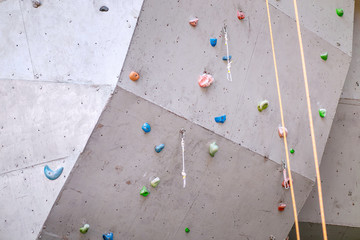 climbing wall with rope, carabiner and hooks