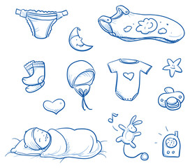 Set of baby sleeping icons, with diaper, socks, hat, crawler, sleeping, bag. For baby shower card. Hand drawn line art vector illustration.