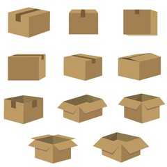 packing of box set in dark brown vector icon