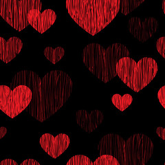 Love heart seamless pattern. Happy Valentines day pencil sketch tiled background. Valentine's day red and black ornament