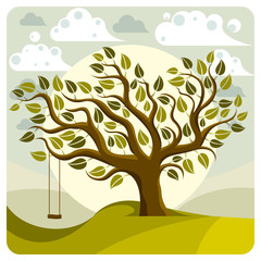 Vector branchy tree with swing on beautiful cloudy spring landsc