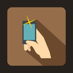 Hand taking pictures on cell phone icon in flat style with long shadow. Device symbol