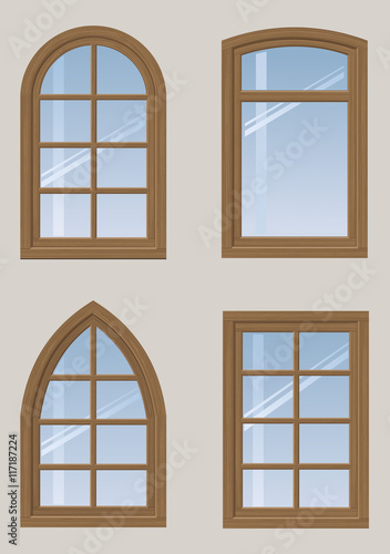 A set of wooden arched windows and a classic design in for Window design vector