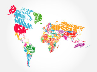 World Map Typography in perspective, word cloud concept, names of countries