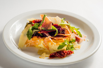 white plate with omelette