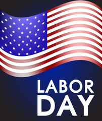 Labor Day on the background of the developing American flag