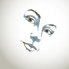 Hand-drawn art portrait of white-skin romantic woman, face emoti