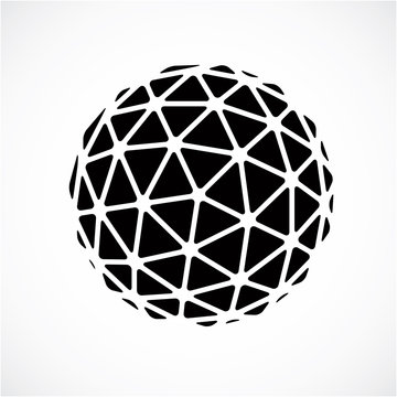 Black and white faceted orb created from triangles, dimensional
