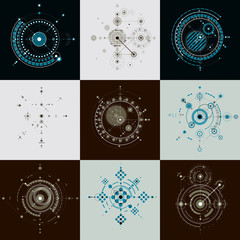 Collection of Bauhaus retro wallpapers, art vector background ma