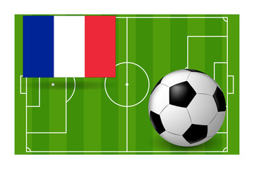 the ball and the flag of France