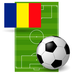 the ball and the flag of Romania