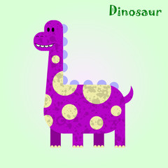 Monster for children, funny happy dinosaur drawing, vector illustration
