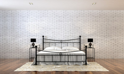 3D render loft bedroom minimal style and white brick wall