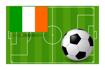 the ball and flag of Ireland