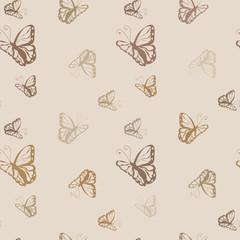 Butterfly  monochrome seamless pattern