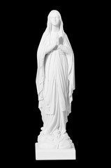 white stone statue of saint Mary
