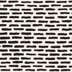 Vector Seamless Black and White Hand Drawn Horizontal Grunge Lines Pattern